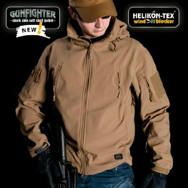 Куртка тактическая GUNFIGHTER Helikon-Tex Soft Shell coyote